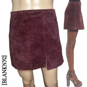 BlankNYC Purple Suede Leather Mini Skirt